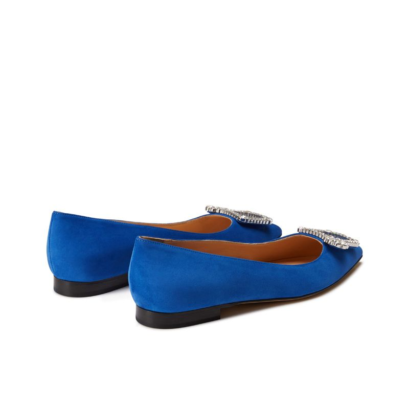 Blue suede ballerinas with crystal buckle hand made in Italy, women's model by Fragiacomo