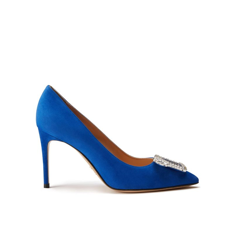 Blue suede pumps with crystal buckle hand made in Italy, women's model by Fragiacomo