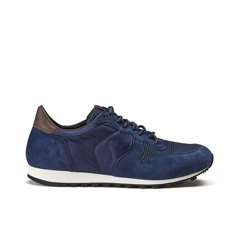 Blue suede sneakers hand made in Italy, men's model by Fragiacomo