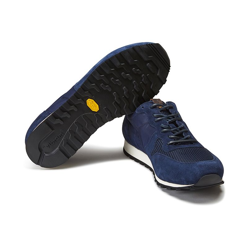 Blue suede sneakers hand made in Italy, men's model by Fragiacomo, bottom view