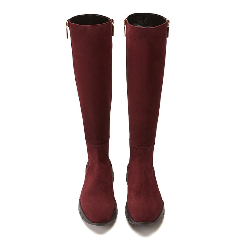 Bordeaux suede knee high boots hand made in Italy with iconic embroidery, double golden zip and rubber sole, women's model by Fragiacomo, over view