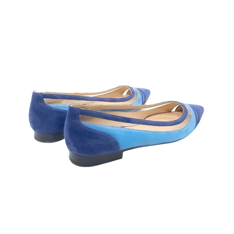 Bright blue and navy blue suede ballerinas with pvc details hand made in Italy, women's model by Fragiacomo