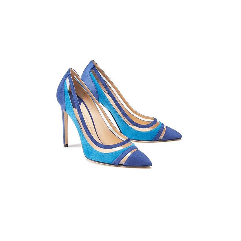 Bright blue and navy blue suede pumps with pvc inserts hand made in Italy, women's model by Fragiacomo