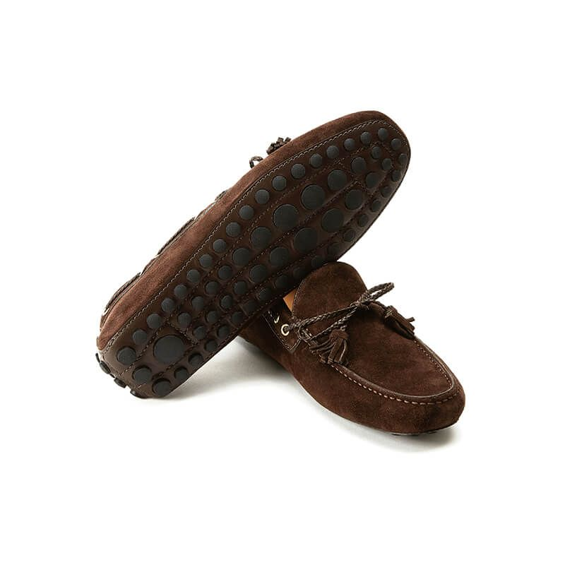 Brown suede driving shoes with rubber pebble outsole, hand made in Italy, elegant men's by Fragiacomo
