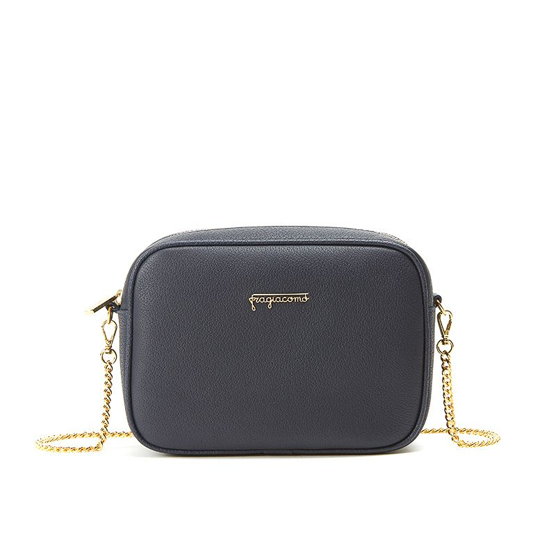 Camera bag in alce blu con catena e accessori oro da donna