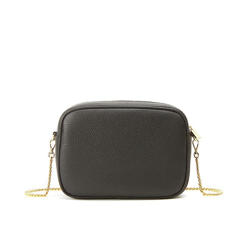 Camera bag in alce nero con catena e accessori oro da donna