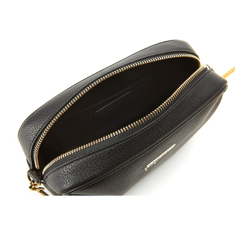 Camera bag in black moose leather with gold accessories woman
