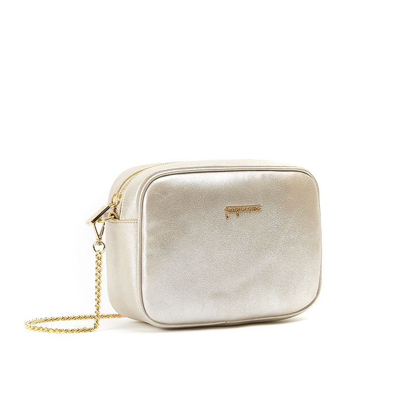 Camera bag in gold burma leather with gold accessories woman