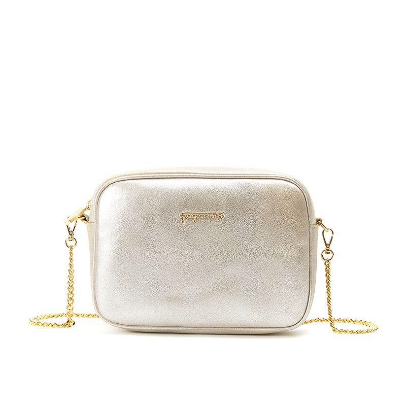 Camera bag in pelle burma oro con catena e accessori oro da donna