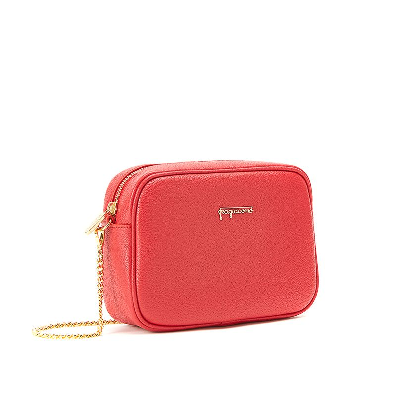 Camera bag in red moose leather with gold accessories woman