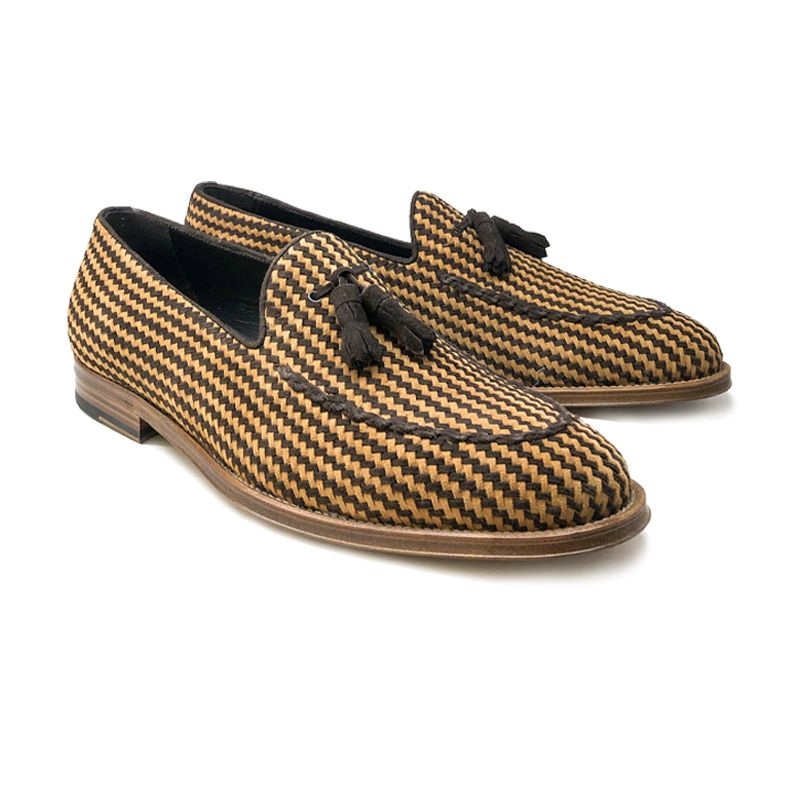 Cognac and dark brown suede tassel loafers with intrecciato texture, hand made in Italy, elegant men's by Fragiacomo