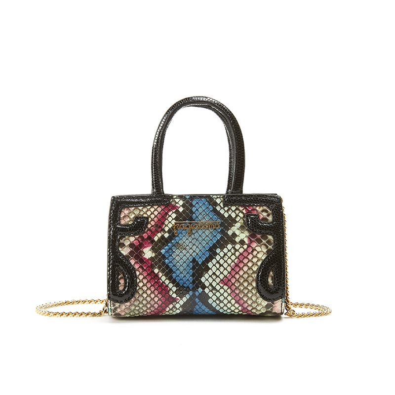 Micro Icon bag in coloured python leather with with black print woman