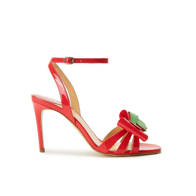 Coral red patent leather high heel sandals with ankle strap and multicolor bow, SS19 collection by Fragiacomo