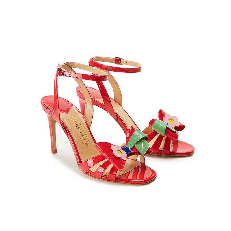 Coral red patent leather high heel sandals with ankle strap and multicolor bow, SS19 collection by Fragiacomo, side view
