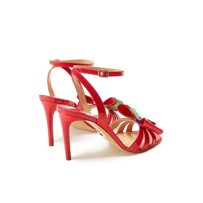 Coral red patent leather high heel sandals with ankle strap and multicolor bow, SS19 collection by Fragiacomo, back view