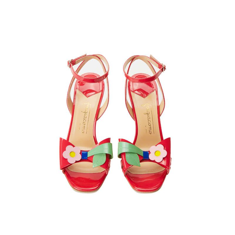 Coral red patent leather high heel sandals with ankle strap and multicolor bow, SS19 collection by Fragiacomo, over view