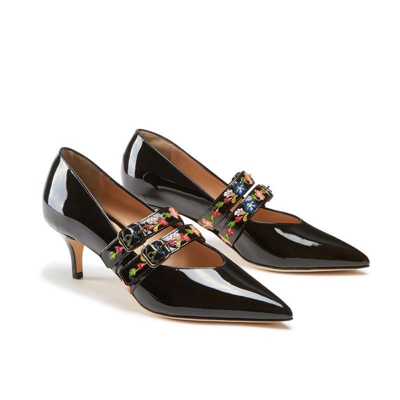 Décolleté in vernice nera fatte a mano in Italia con cinturini ricamati, modello da donna by Fragiacomo, vista laterale