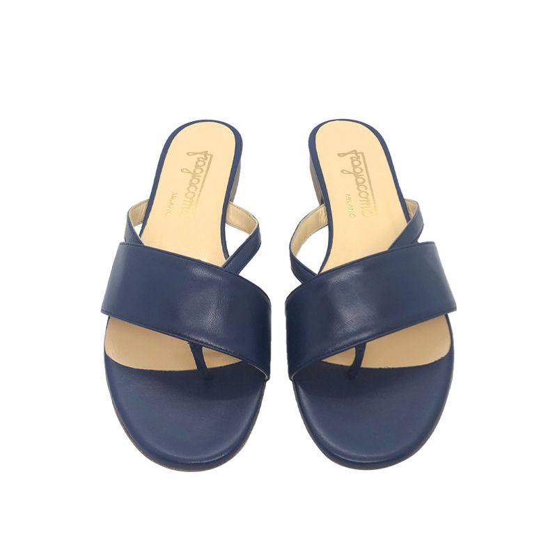 Dark blue leather flat sandals hand made in Italy, women's model by Fragiacomo
