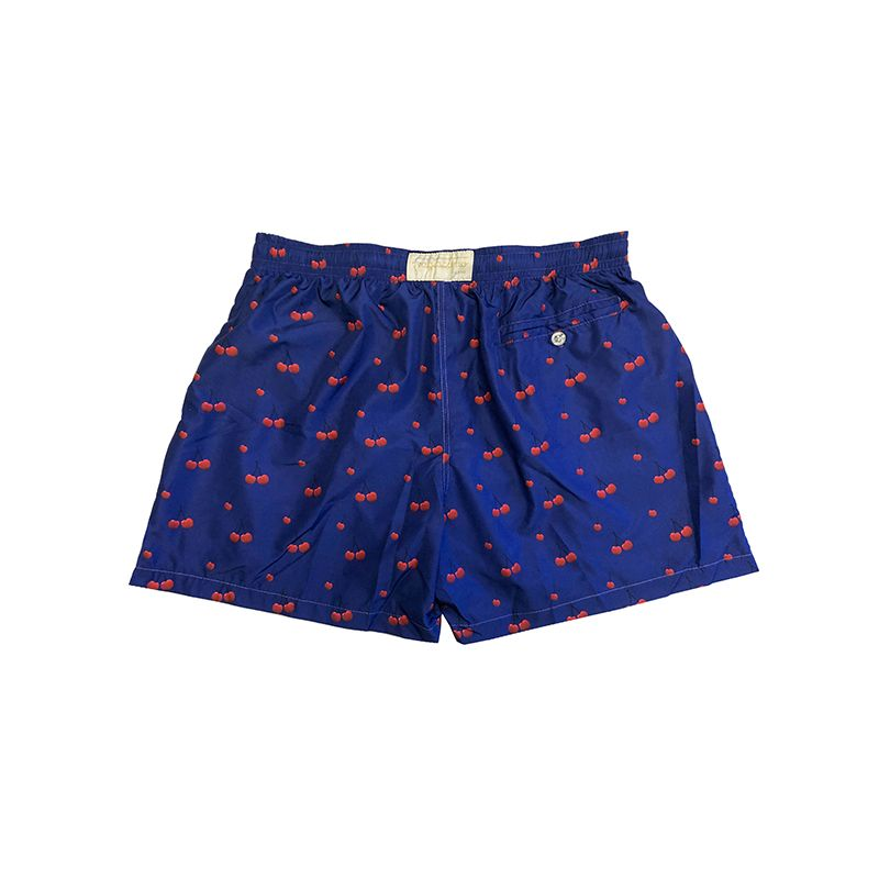 Dark blue men's swim shorts in light fabric with cherry pattern made in Italy by Fragiacomo