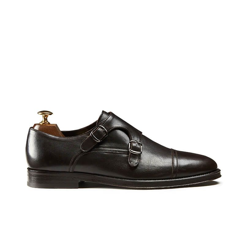 Dark brown calfskin monk-strap shoes, hand made in Italy, elegant men's by Fragiacomo