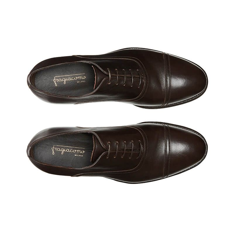 Dark brown calfskin Oxford shoes with laces, hand made in Italy, elegant men's by Fragiacomo