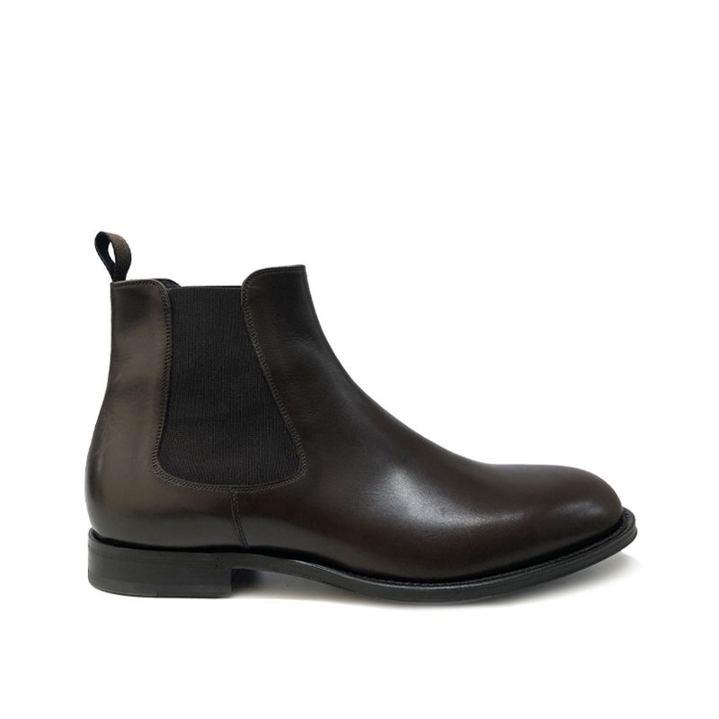 Dark brown leather Chelsea ankle boots hand made in Italy, men's model by Fragiacomo