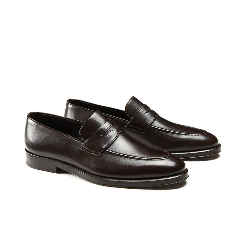 Dark brown calfskin penny loafers, hand made in Italy, elegant men's by Fragiacomo