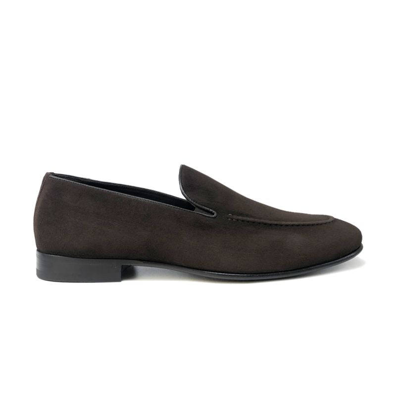 Dark brown suede loafers with leather sole, hand made in Italy, elegant men's by Fragiacomo