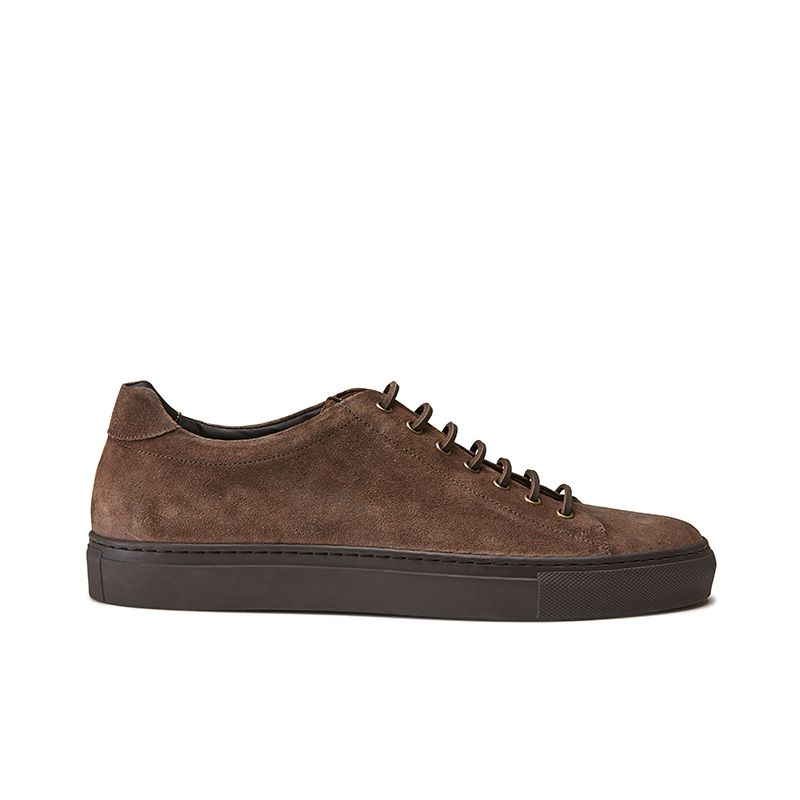 Dark brown suede low-top sneakers hand made in Italy, mens' model by Fragiacomo
