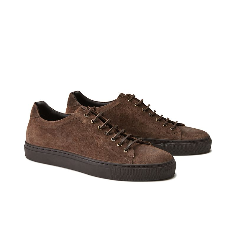 Dark brown suede low-top sneakers hand made in Italy, mens' model by Fragiacomo, side view