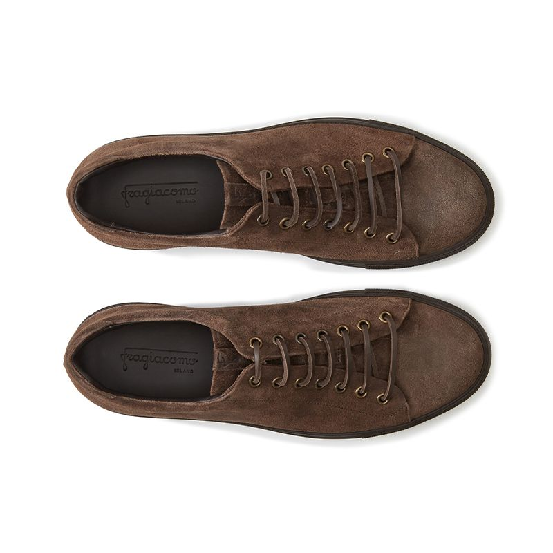 Dark brown suede low-top sneakers hand made in Italy, mens' model by Fragiacomo, over view