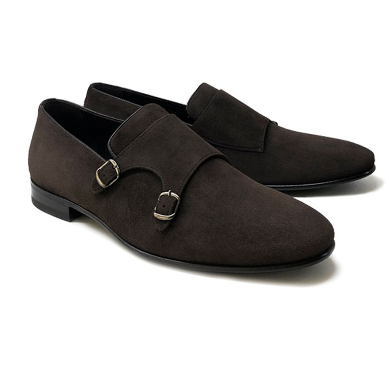 Dark brown suede monk-strap shoes blake rapid, men's model by Fragiacomo