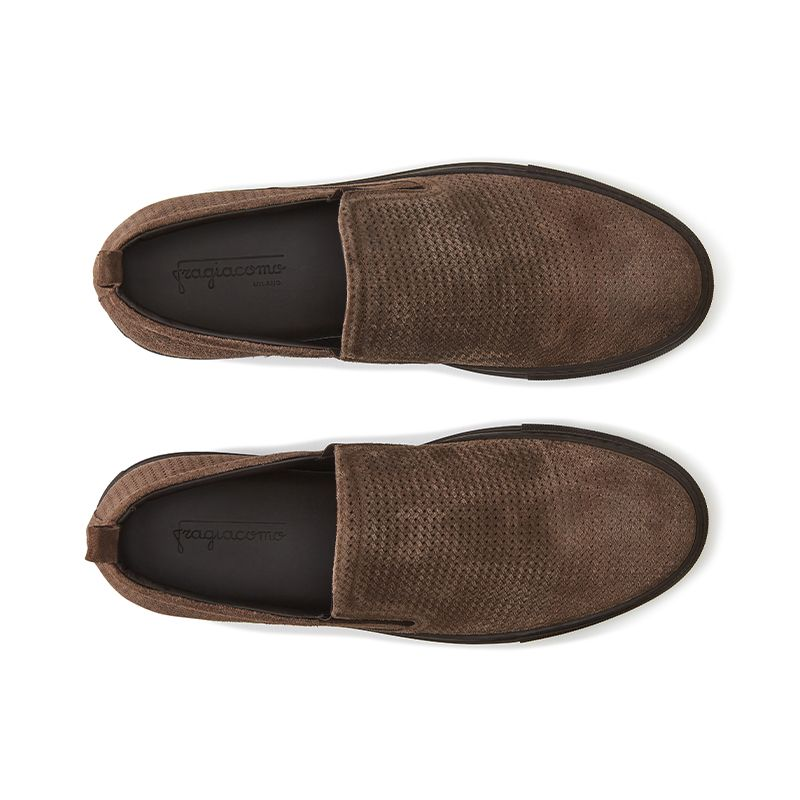 Dark brown suede slip-ons hand made in Italy, mens' model by Fragiacomo, over view
