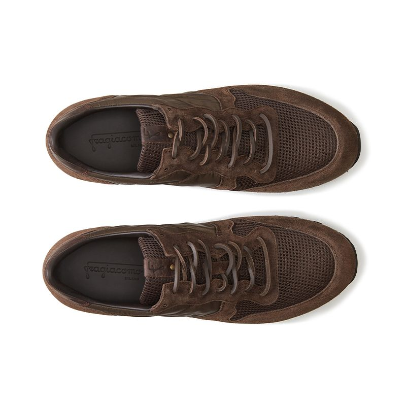 Dark brown suede sneakers hand made in Italy, men's model by Fragiacomo, over view