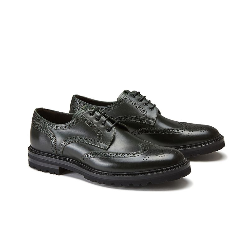 Dark green calfskin derby shoes, men's model by Fragiacomo, side view