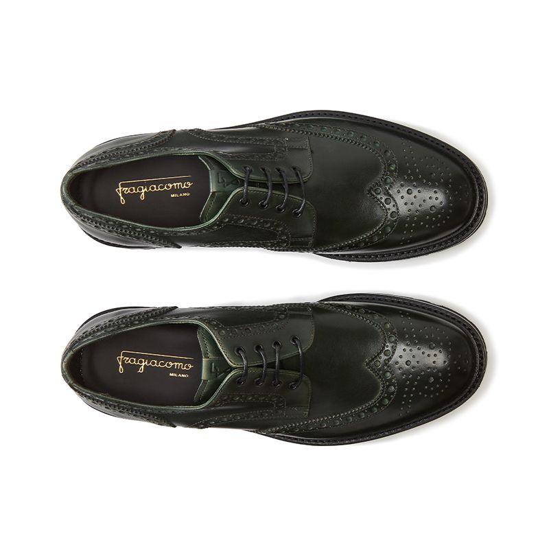 Dark green calfskin derby shoes, men's model by Fragiacomo, over view