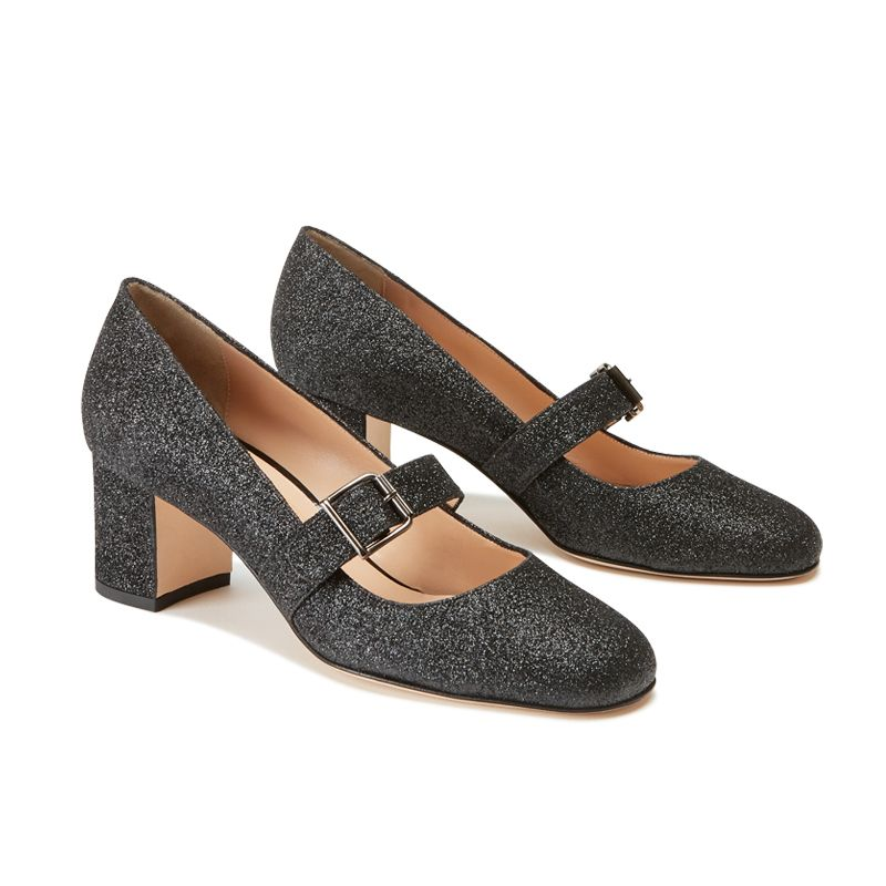 Dark grey glitter Mary Jane shoes with strap hand made in Italy, women's model by Fragiacomo, side view