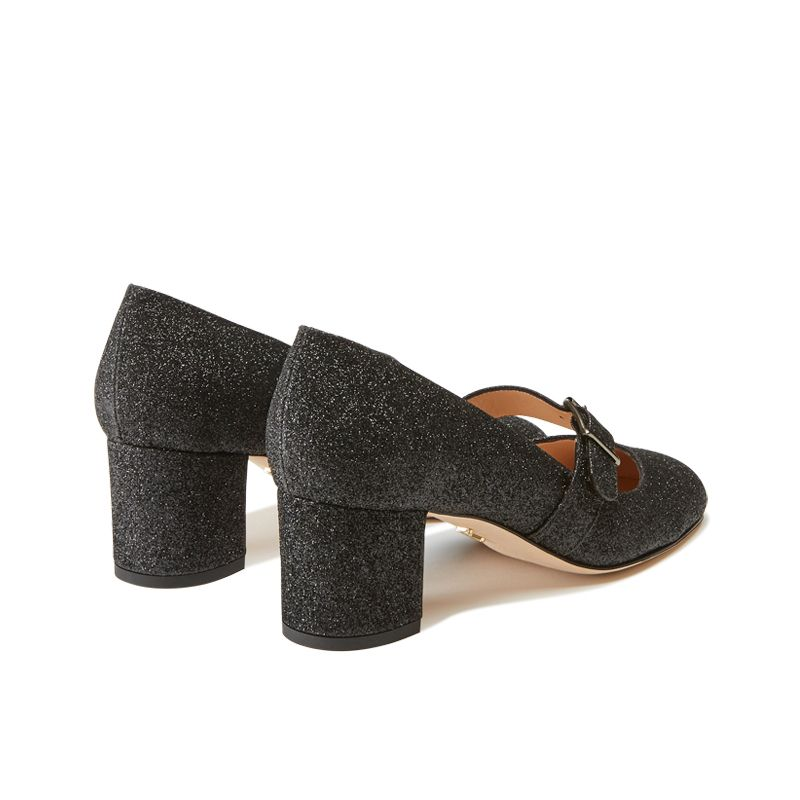 Dark grey glitter Mary Jane shoes with strap hand made in Italy, women's model by Fragiacomo, back view