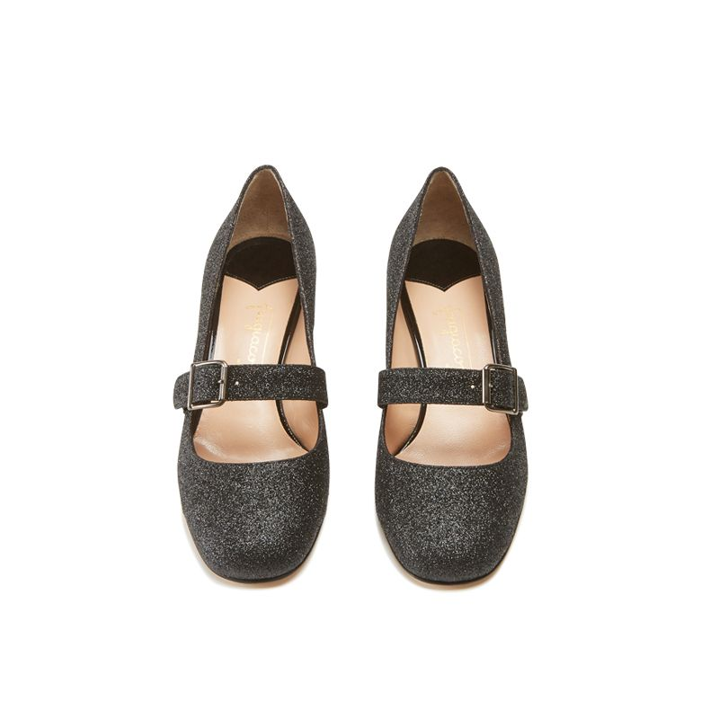 Dark grey glitter Mary Jane shoes with strap hand made in Italy, women's model by Fragiacomo, over view