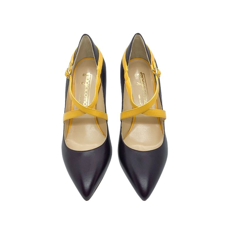 Dark violet leather high heel pumps with yellow straps hand made in Italy, women's model by Fragiacomo
