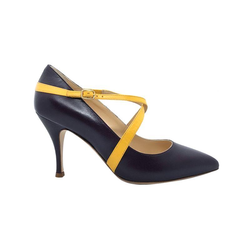 Décolleté alta in pelle viola scura con cinturini gialli fatte a mano in Italia, modello da donna by Fragiacomo