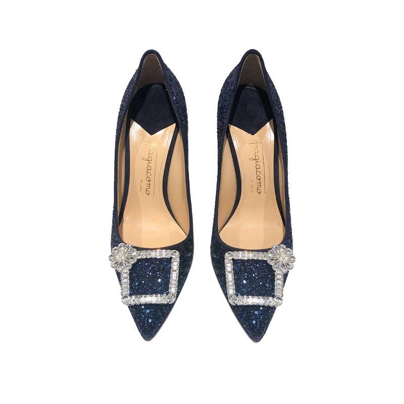 Décolleté blu in glitter con fibbia di cristalli, eleganti da donna, by Fragiacomo