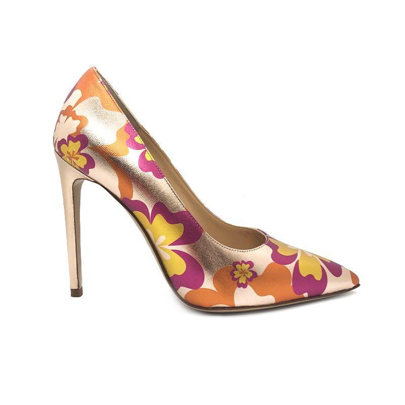 Décolleté Flower Candy in pelle laminata oro rosa e arancione con tacco 105 mm fatte a mano in Italia, modello da donna by Fragiacomo