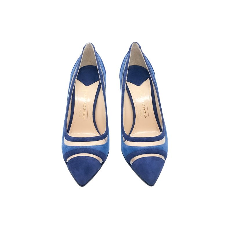 Décolleté in camoscio azzurro e blu fatte a mano in Italia con dettagli in pvc trasparente, modello da donna by Fragiacomo