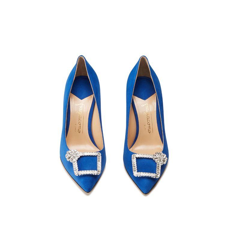 Décolleté in camoscio blu fatte a mano in Italia con fibbia di cristalli, modello da donna by Fragiacomo