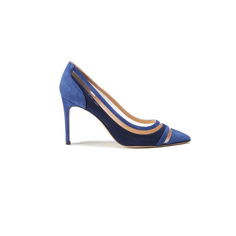 Décolleté in camoscio blu e blu scuro fatte a mano in Italia con dettagli in pvc trasparente, modello da donna by Fragiacomo