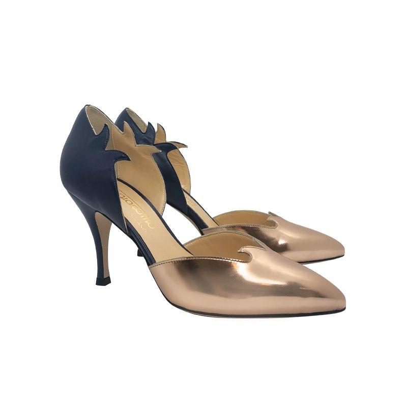 Décolleté in pelle blu scuro e oro con tacco alto fatte a mano in Italia, modello da donna by Fragiacomo
