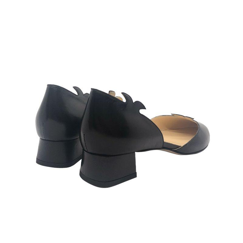 Décolleté in pelle nera con tacco basso fatte a mano in Italia, modello da donna by Fragiacomo
