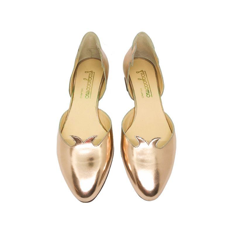 Décolleté in pelle oro con tacco basso fatte a mano in Italia, modello da donna by Fragiacomo