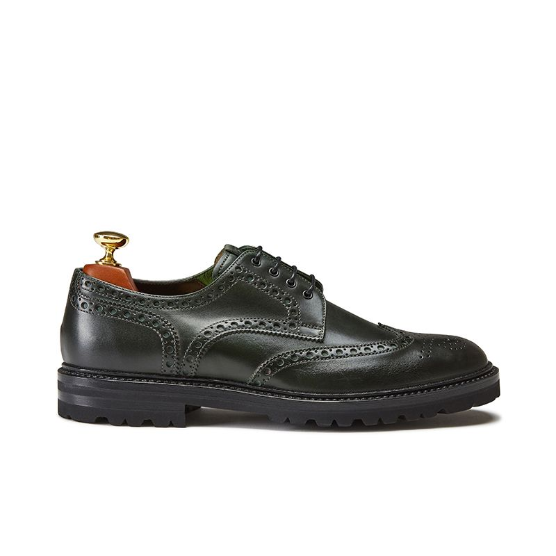 Scarpe derby brogue in pelle di vitello verde scuro, modello da uomo by Fragiacomo